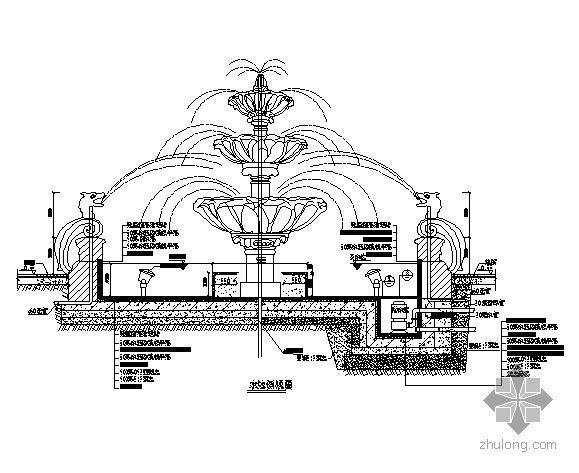 欧式喷泉平面图设计资料下载-欧式圆形喷泉施工详图