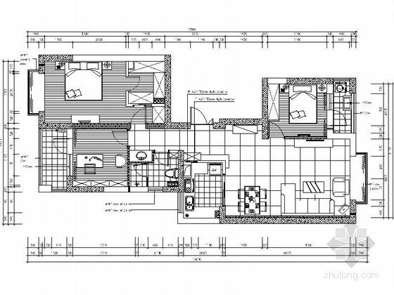 [成都]锦江之畔现代三居室装修施工图