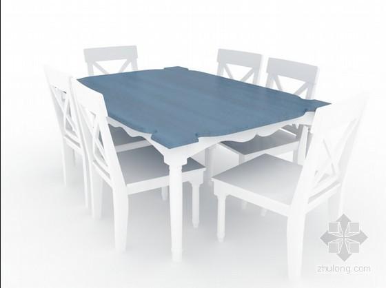 田园餐桌椅组合3d模型下载