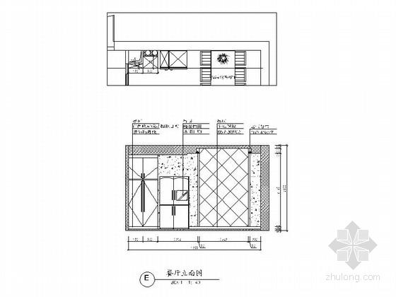 [广州]花园住宅简欧三居室样板房装修图(含效果)餐厅立面图