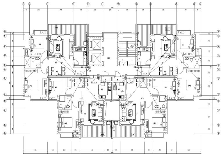 住宅区弱电工程计算实例附全套CAD图纸与工程量清单-弱电平面图