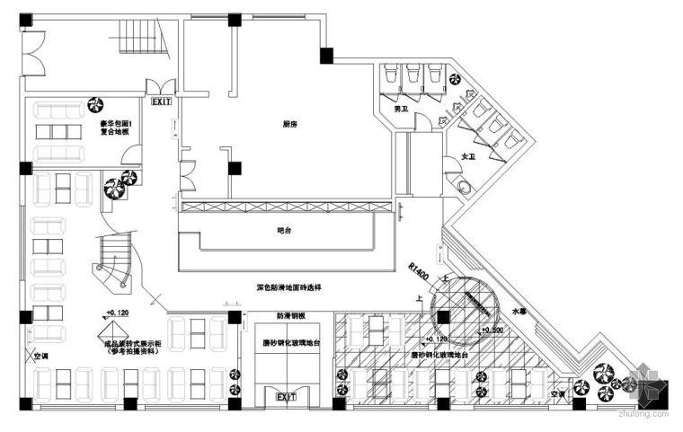 1800㎡大型港式西餐厅设计图