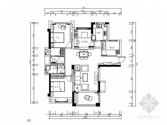 [北京]简约温馨三室三厅室内设计CAD施工图