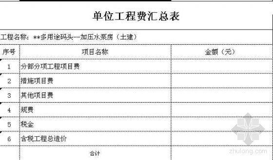 广州某用途码头加压水泵房及污水处理工程清单报价
