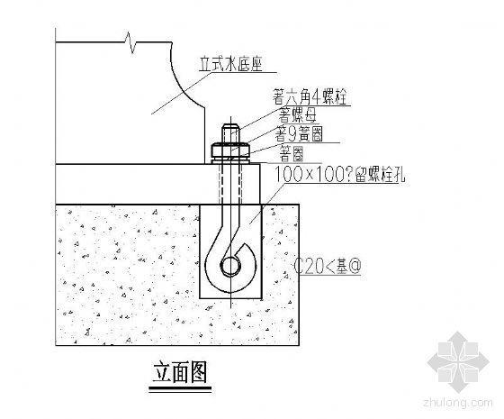 喷淋安装节点图资料下载-立式多级消防泵基础安装示意图