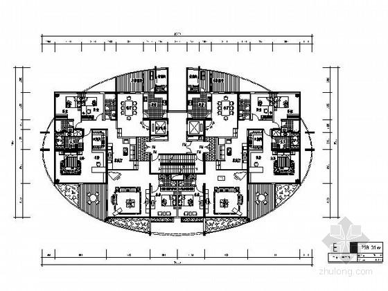 [北京]某高层二梯二住宅楼户型图(258平方米)