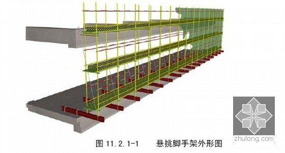 [上海]高层商业办公楼总承包施工组织设计(技术标白玉兰奖)-悬挑脚手架外形图