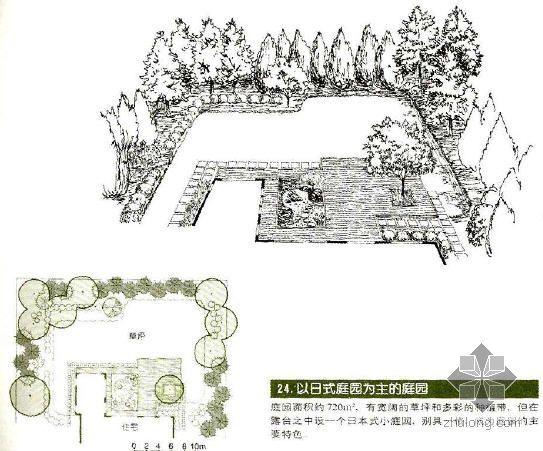 以日式庭院为主的庭院景观设计图