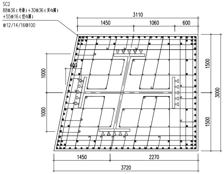 [武汉]商业建筑主塔楼巨柱结构施工方案-03巨柱SC2截面分区图