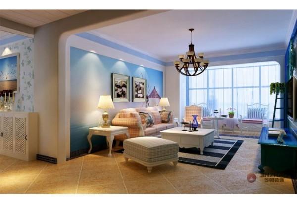 蓝白情调,三居室地中海风格设计案例