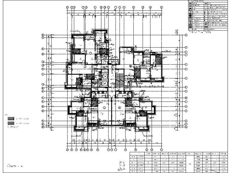 [广西]经典欧式立面风格高层住宅施工图-经典欧式立面风格高层住宅平面图