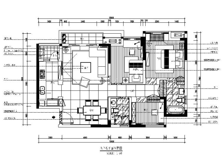 现代风格样板房CAD施工图(含效果图)