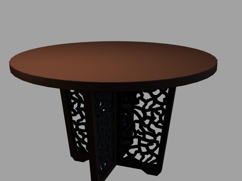 中式圆形餐桌3d模型下载-建筑部件模型-筑龙渲染表现