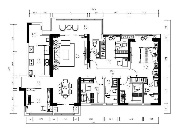 [深圳]现代简约四居室设计施工图(含效果图)