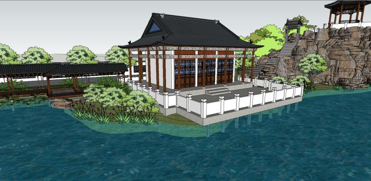中式古建园林会所院落模型(su模型)-5