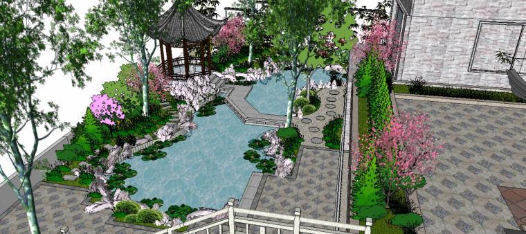 座凳•座椅,景墙•围墙,水景庭院设计su模型_1