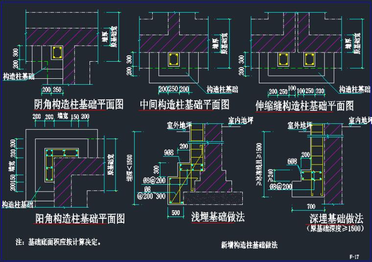 新增构造柱基础做法点构造详图