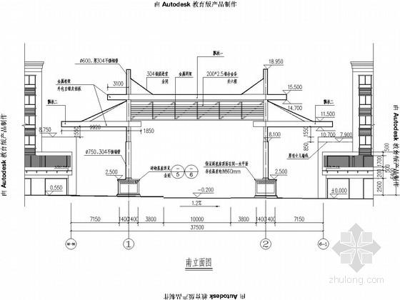 钢结构机电市场南大门结构施工图(含建筑图)