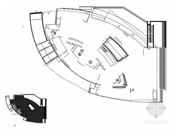 [四川]四层构架屋面弧线型框剪结构县级图书馆建筑施工图-四层构架屋面弧线型框剪结构县级图书馆建筑平面图