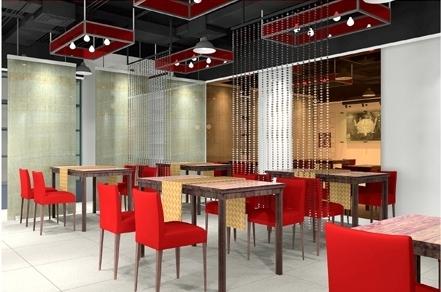 [重庆]全国连锁加盟特色火锅店室内施工图(含效果图) 餐厅效果图