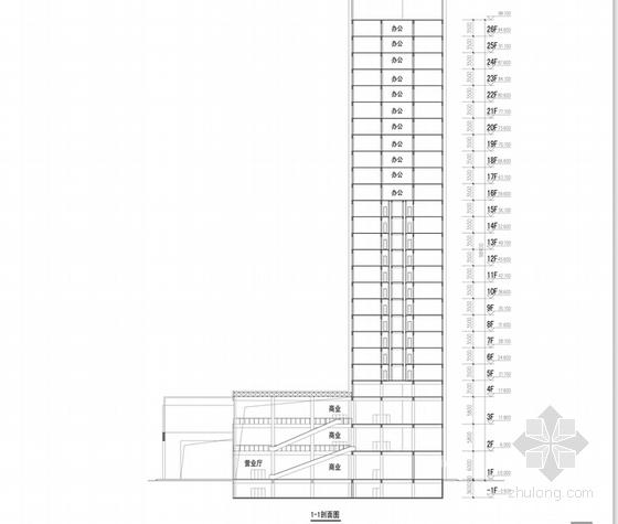 [河南]26层现代风格高档酒店公寓设计方案文本-26层现代风格高档酒店公寓各层剖面图