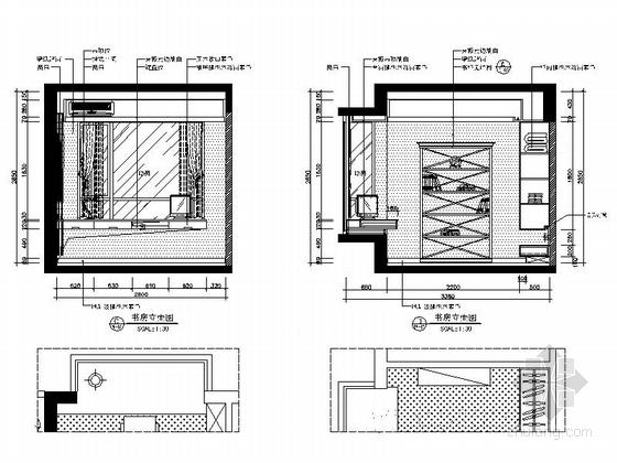 [广西]简欧风格四居室样板房装修图(含效果)书房立面图