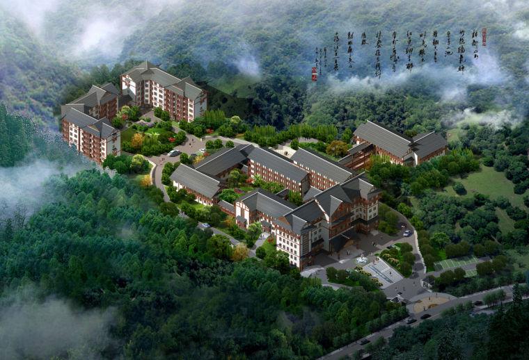 湖南省湘西土家族苗族自治州某中医院建筑设计文本-整体鸟瞰图