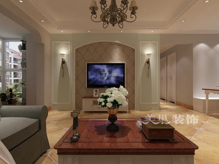 蓝堡湾110平三室户型美式装修,清新典雅节约空间