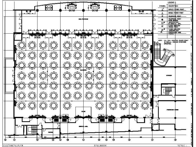 [中山]新中式特色风情酒店宴会厅室内设计施工图-[中山]新中式特色风情酒店宴会厅室内设计平面图