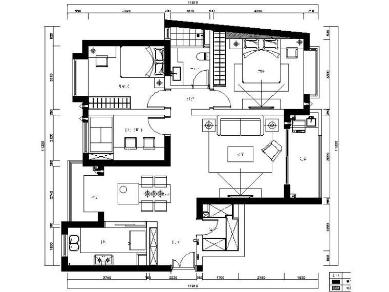 [上海]现代简约优雅三居室室内设计施工图(含高清效果图)