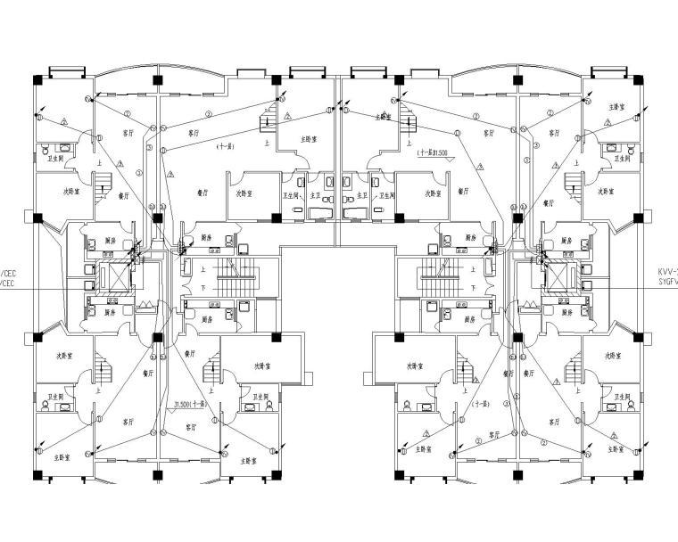 11+1电气图纸导线(包括防雷接地,图纸v电气及敷cad的成黑白打印高层图片