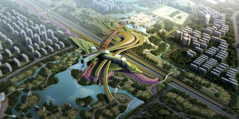 [湖北]武汉园博会景观规划设计方案文本-[湖北]武汉园博会景观规划设计文本 B-2 方案二鸟瞰图