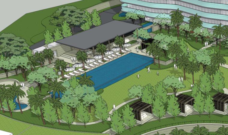 酒店景观设计——住宅泳池效果图