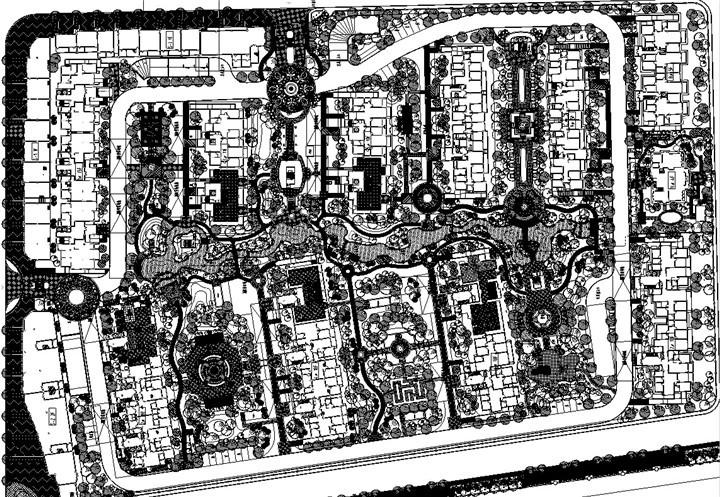 [江苏]中学附近居住区景观施工图设计