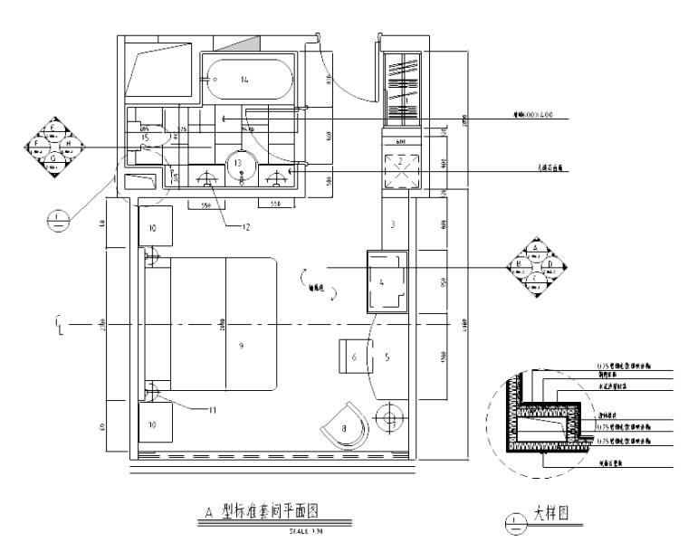 [广东]某四星酒店标准间施工图