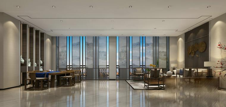 高层露台中式会客厅3D模型