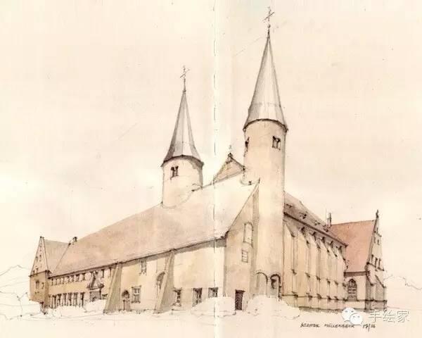 百年经典建筑设计手绘图_42