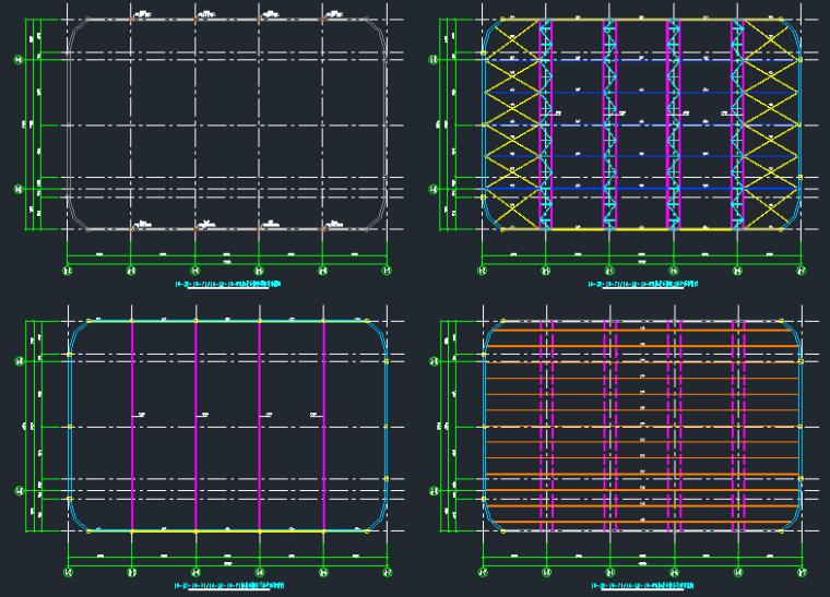 溜冰场屋盖28m跨度管桁架结构施工图