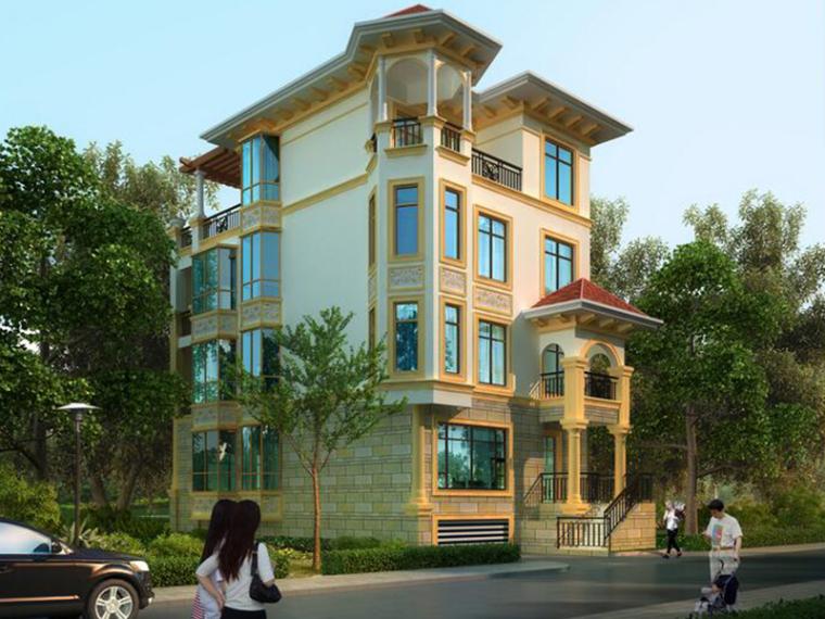 欧式风格四层别墅建筑设计(包含效果图+CAD)
