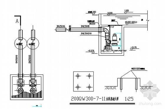 瀑布水泵吸水坑水泵安装大样图