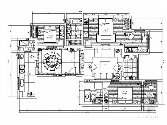[上海]优雅欧式风格三居室装修施工图(含效果图)