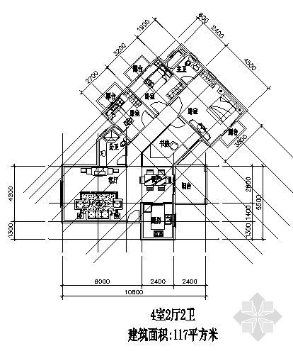 四室两厅一厨两卫117平方米