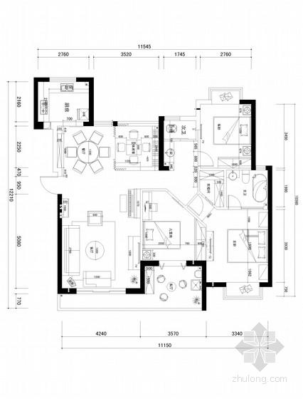 [武汉]新古典130平米三居室装修CAD施工图(含效果图)