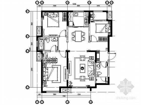 [青岛]新古典风格样板间装修施工图