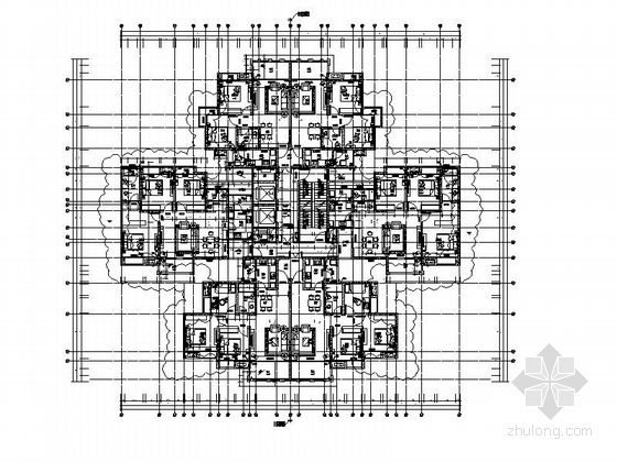 [四川]一级高层框架剪力墙结构塔式住宅楼建筑施工图(含两套方案)-一级高层框架剪力墙结构塔式住宅楼建筑平面图