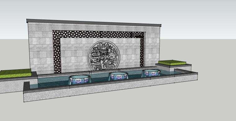 [景观小品]中式景墙SU模型素材设计.skp
