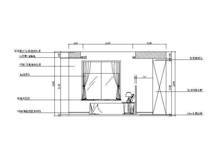 现代风格二居室样板房设计CAD施工图(含效果图)_5