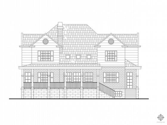两套两层坡屋顶别墅CAD方案扩初图(带效果图)