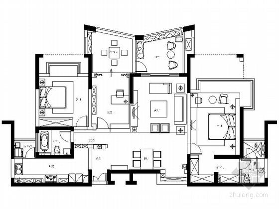 [苏州]多元化高尚国际社区现代三居室CAD装修施工图(含效果)