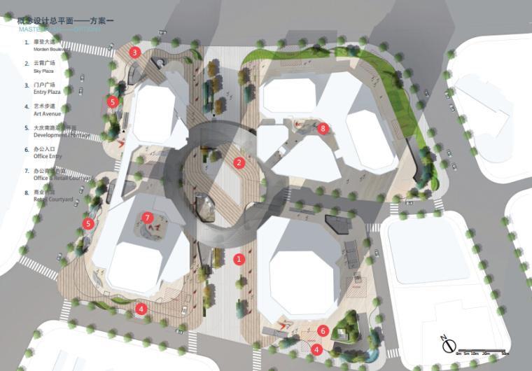 [浙江]休闲开放商业绿地景观概念设计-概念方案一平面图